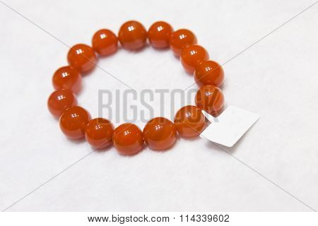 Chinese Bracelet Made Of Red Round Agate Stones