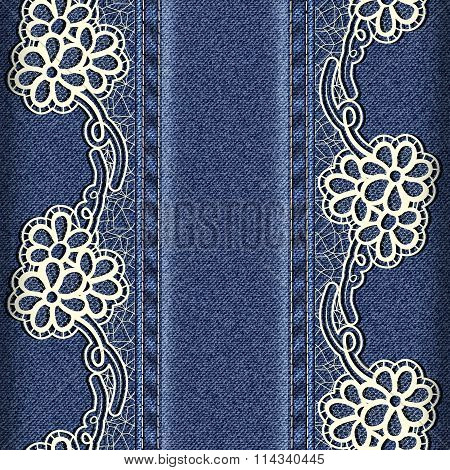 Denim And Lace. Background With Lace Ribbons Sewn Vertically.