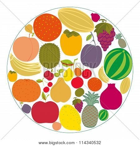 Flat Fruit Icons Gathered In A Circle.