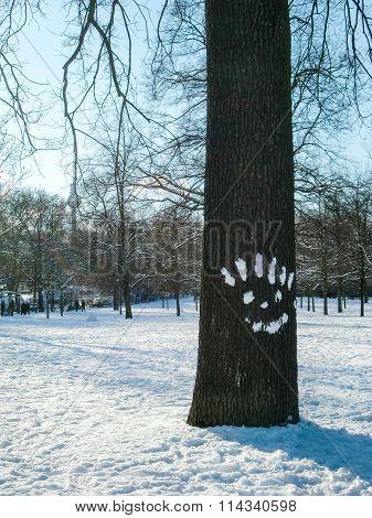 Street Art Smiley With Snow On Tree