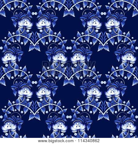 Seamless Pattern In Gzhel Style. National Ornament In Russian Or Chinese Stylization.