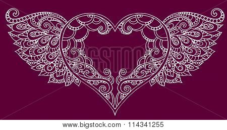 Hand drawn decorative doodle heart with wings