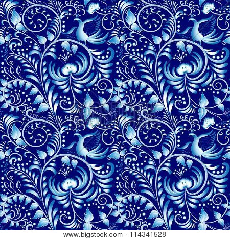 Flower Seamless Pattern With Elements Of Folk Gzhel Style Or Chinese Porcelain Painting. Dark Blue B