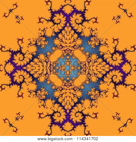 Abstract decorative ornamental orange purple blue seamless pattern in art nouveau style