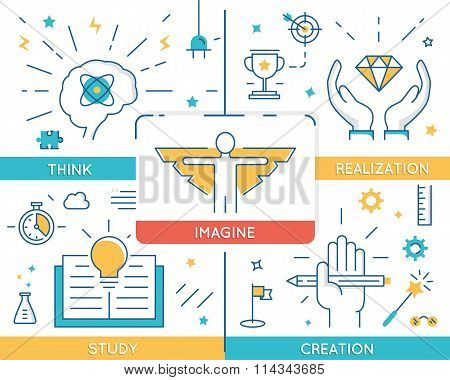 Vector Concept Related To Career Progress, Business People Training And Education. Infographics