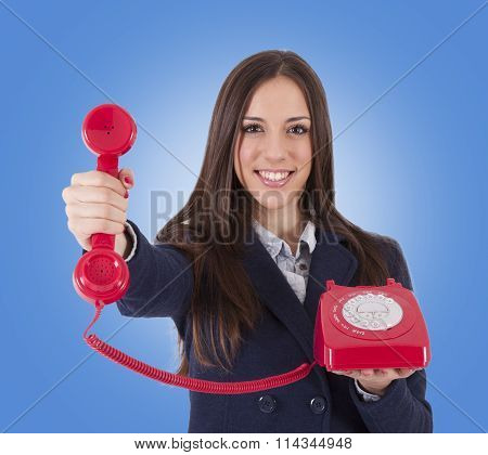 business woman with retro phone