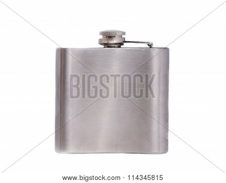 Stainless Hip Flask Isolated On White Background Closeup