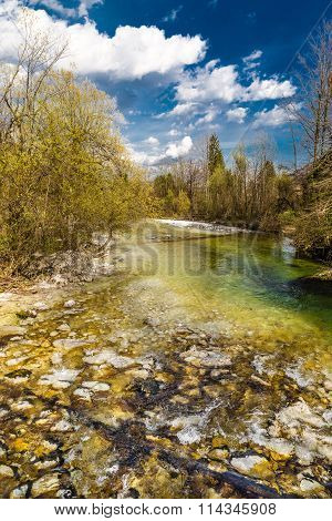 Stream Of Sava Bohinjka River-lake Bohinj,slovenia