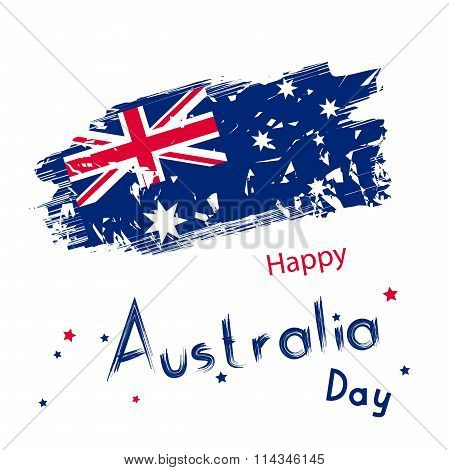 Australia Day With Grange Flag On White Background. Holiday
