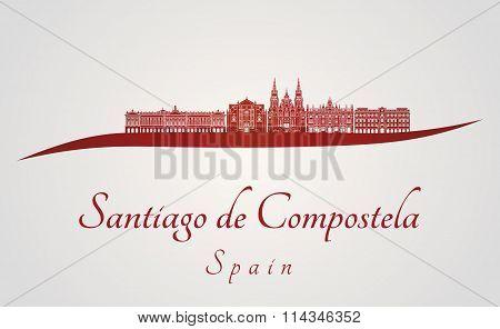 Santiago De Compostela Skyline In Red