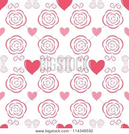 Seamless Romantic Pattern With Hearts And Flowers