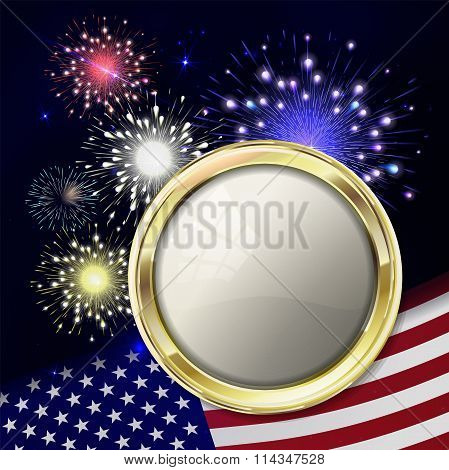 Fireworks With Usa Flag And Gold Emblem For Text. USA flag