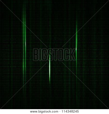 Dark Green Blurred Background With Binary Code In Vector.