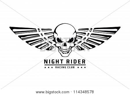 Angry skull with wings vector emblem