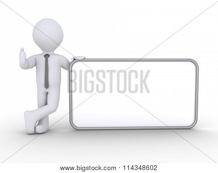 Businessman Is With A Blank Sign