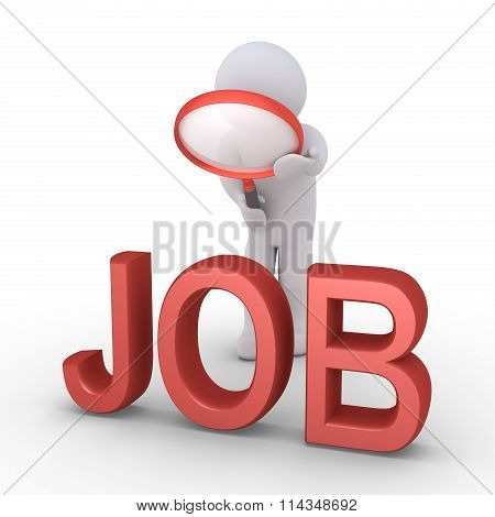 Person With Magnifier Searching For Job