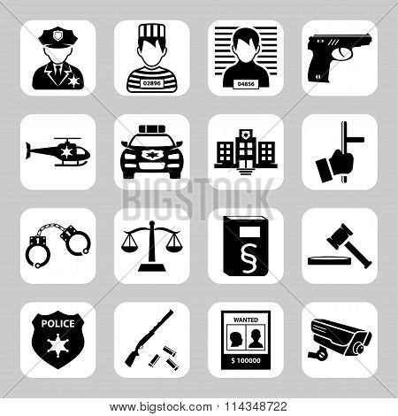 Police And Criminality Vector Icon Set. Vector Symbols. Vector Illustration