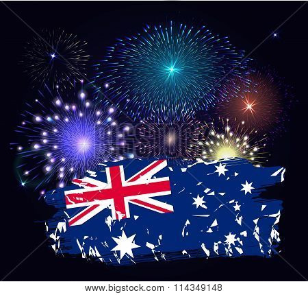 Australia Day With Flag. Colorful Fireworks On Black Background.