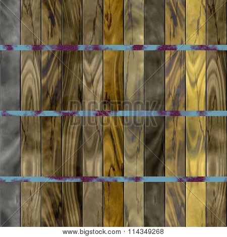 Seamless texture of wooden slats bound with rusty metal tape