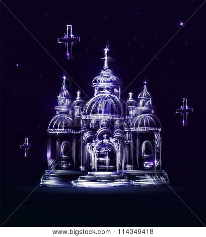 Abstract Blue Church On A Dark Background In Vector. Painted