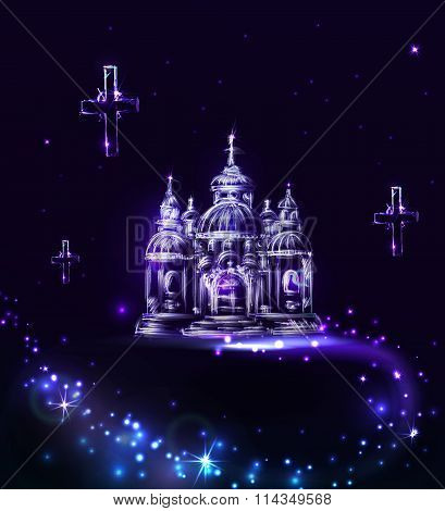 Abstract Blue Church On A Dark Background With Light  In Vector.