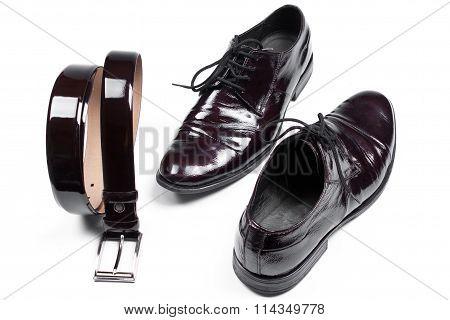 Isolated Stylish Leather Men's Dress Shoes And Belt