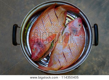 Whole Fish Steamed In The Steam Pot