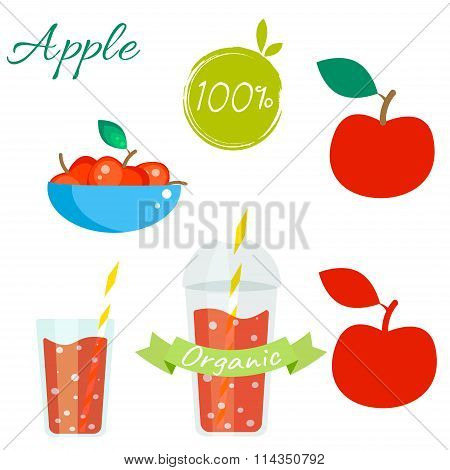 Red apple fruit and juice vector set.