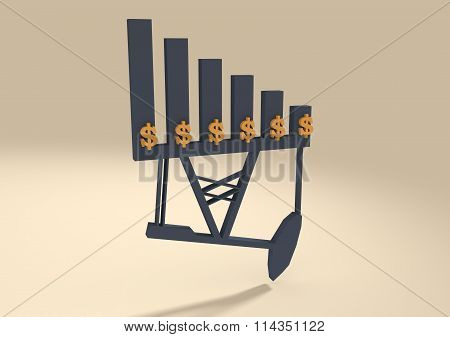Oil Price Fall Graph Illustration. Pump And Dollar Icons