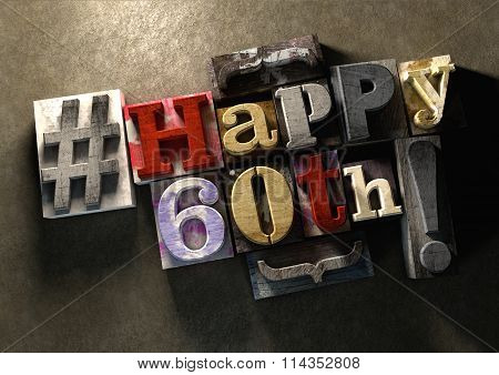 Ink Splattered Printing Wood Blocks With Grungy Happy 60Th Birthday Typography