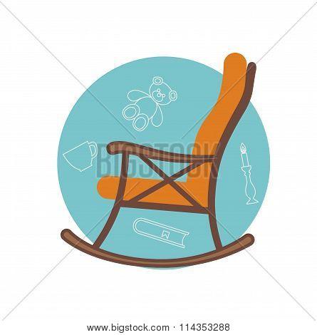 Flat illustration of rocking chair