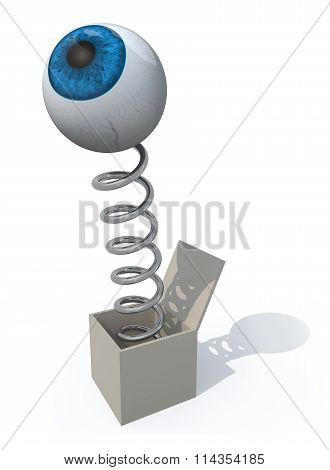 Human Eye Comes Out Of A Box With A Spring