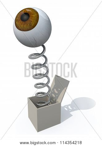 Human Brown Eye Comes Out Of A Box With A Spring