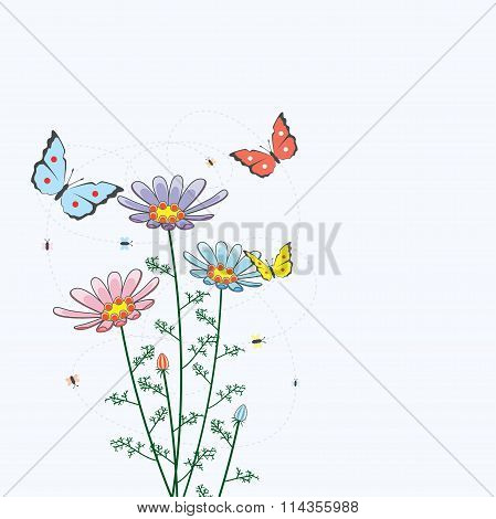Vector Background With Camomile Flowers And Butterflies
