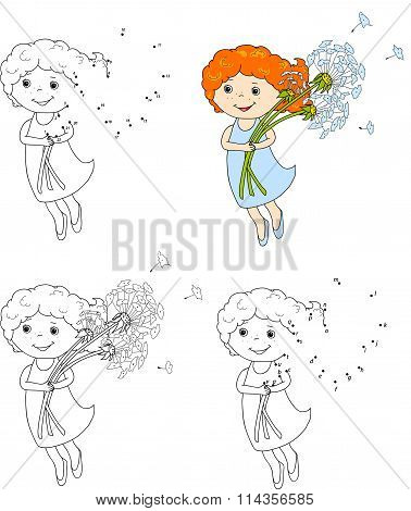 Girl Flying With Dandelions. Vector Illustration. Coloring And Dot To Dot Game For Kids