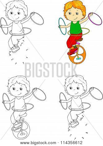 Boy Riding An Unicykle And Juggling. Vector Illustration. Coloring And Dot To Dot Game For Kids