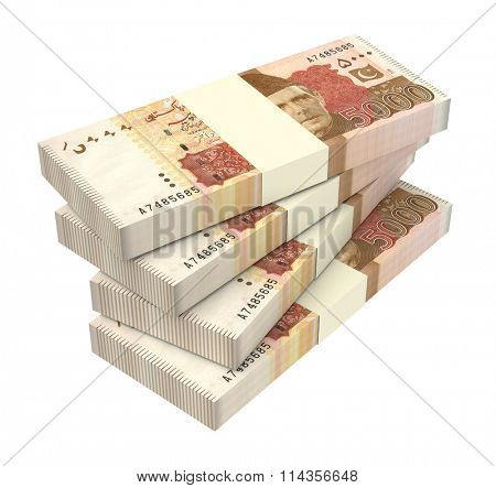 Pakistan money isolated on white background. Computer generated 3D photo rendering.