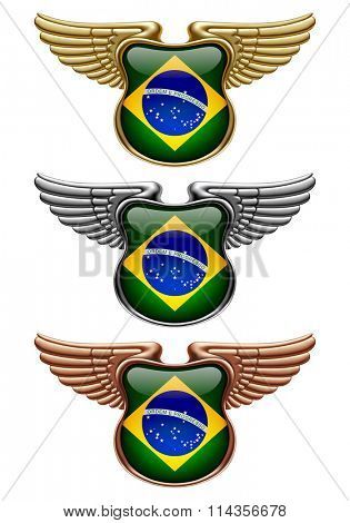 Gold, silver and bronze award signs with wings and Brazil state flag. Vector illustration