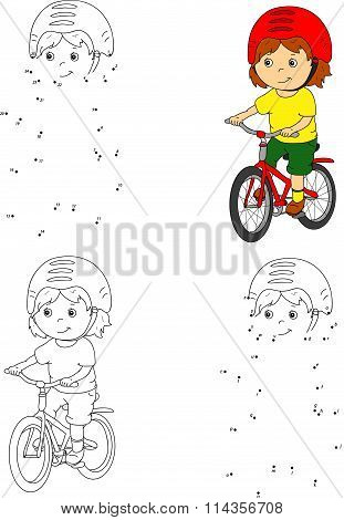 Young Boy Riding A Bicycle In A Helmet. Vector Illustration. Coloring And Dot To Dot Game For Kids