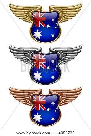 Gold, silver and bronze award signs with wings and Australia state flag. Vector illustration