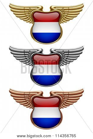 Gold, silver and bronze award signs with wings and Netherlands state flag. Vector illustration