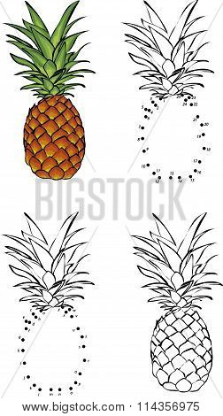 Cartoon Pineapple. Vector Illustration. Coloring And Dot To Dot Game For Kids