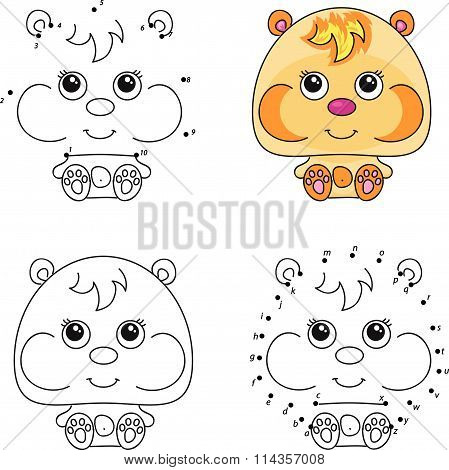 Funny Cartoon Hamster. Vector Illustration. Coloring And Dot To Dot Game For Kids