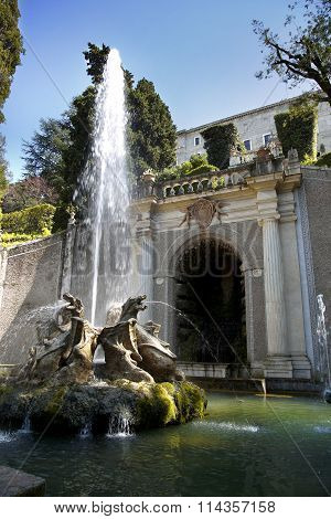 Fontana Dei Draghi, Villa D`este Fountain And Garden In Tivoli Near Roma, Italy