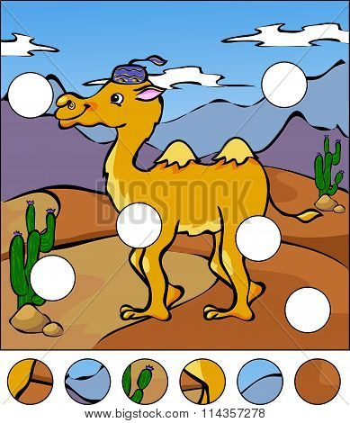 A Camel In A Desert. Complete The Puzzle And Find The Missing Parts Of The Picture. Vector Illustrat