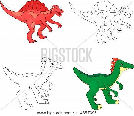 Funny Cute Spinosaurus. Educational Game For Kids. Coloring Book