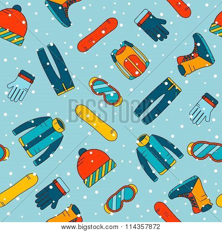 Seamless pattern with accessories for snowboarding. Extreme winter sports icons.