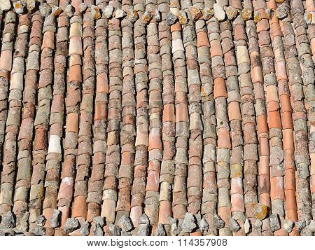 Old tile roof texture.