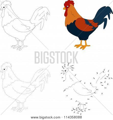 Cartoon Cock. Vector Illustration. Dot To Dot Game For Kids