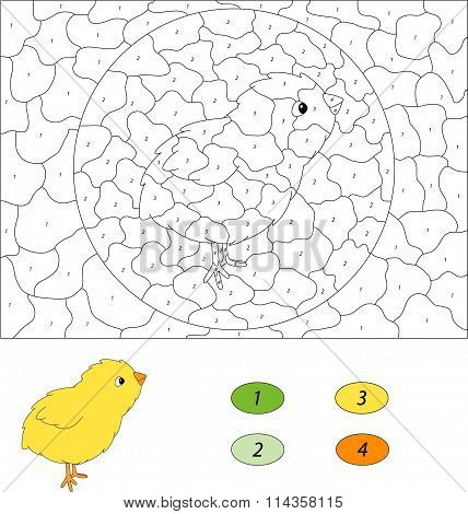 Cartoon Chick. Color By Number Educational Game For Kids. Vector Illustration